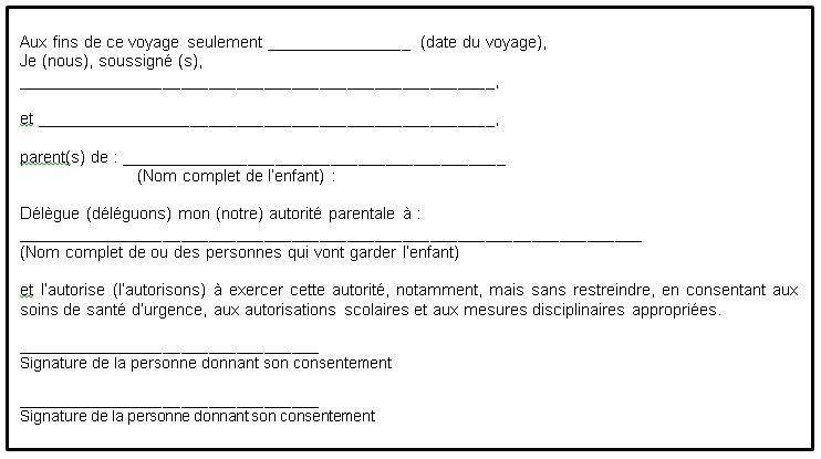 modele lettre d'autorisation parentale voyage - Modele de lettre type