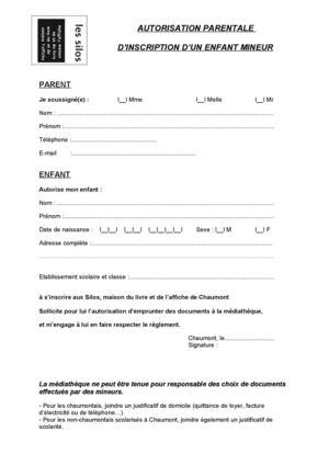 modele lettre d'autorisation parentale