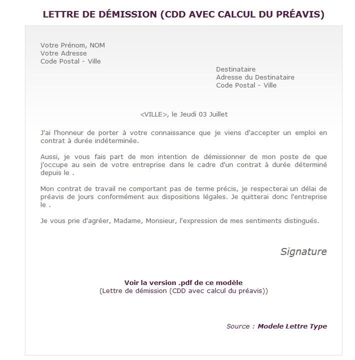 modele lettre de demission cdd sans preavis