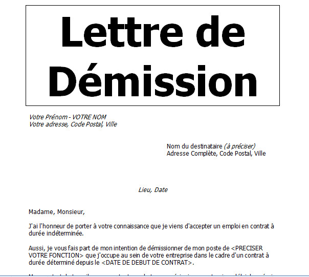 modele lettre de demission cdi avec reduction preavis - Modele de lettre type