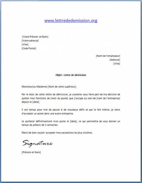 modele lettre de demission cdi avec reduction preavis ...
