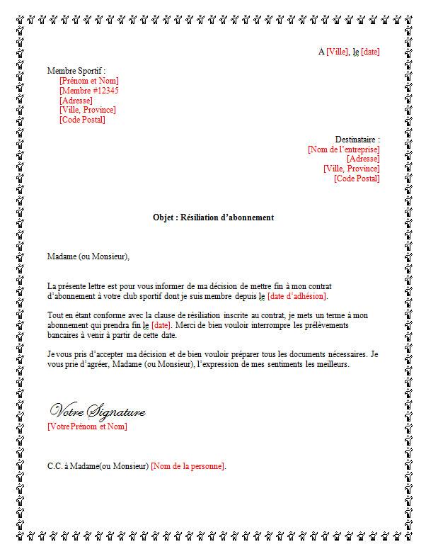 modele lettre de demission d'une association gratuite - Modele de lettre type