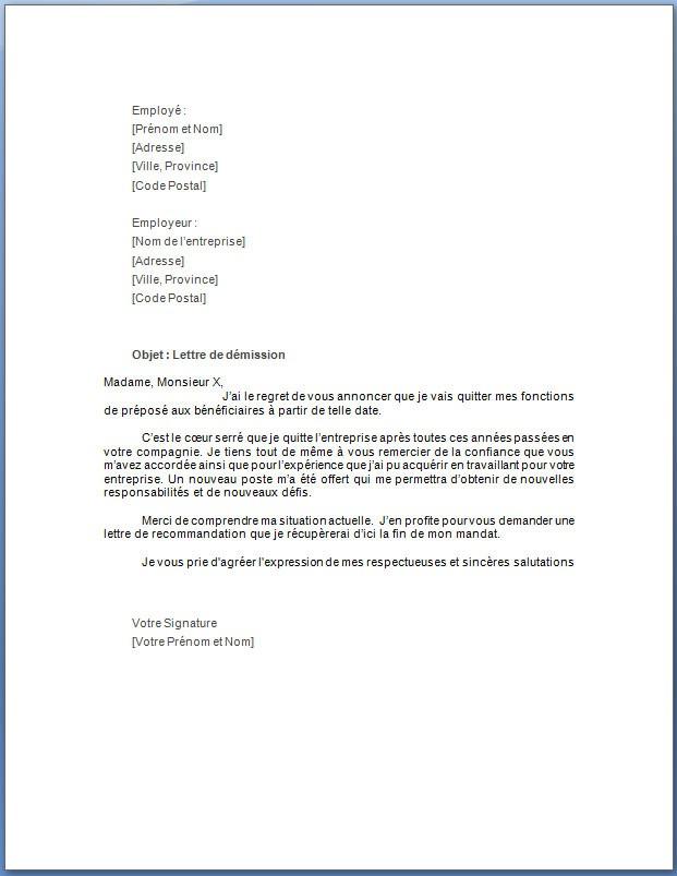 modele lettre de demission pour suivi de conjoint - Modele ...