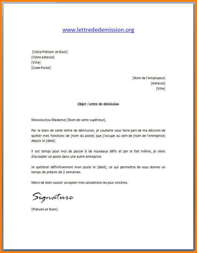 modele lettre de demission sans preavis