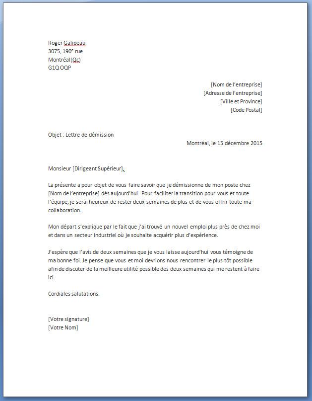 modele lettre de demission word - Modele de lettre type