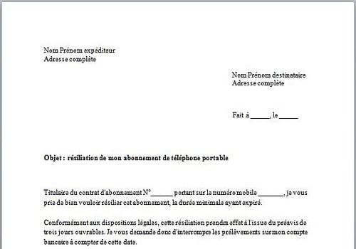 Modele Lettre De Denonciation De Contrat Modele De Lettre Type