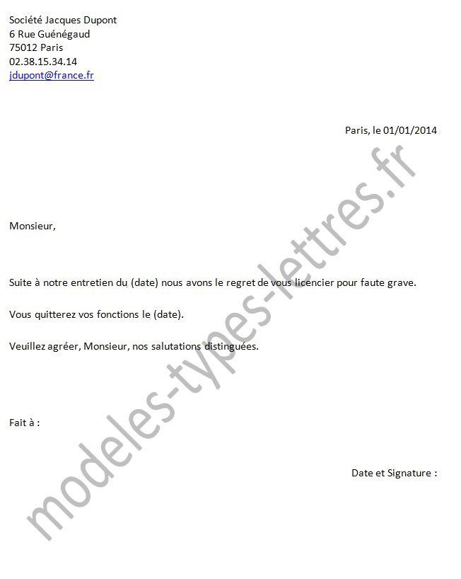 modele lettre de licenciement