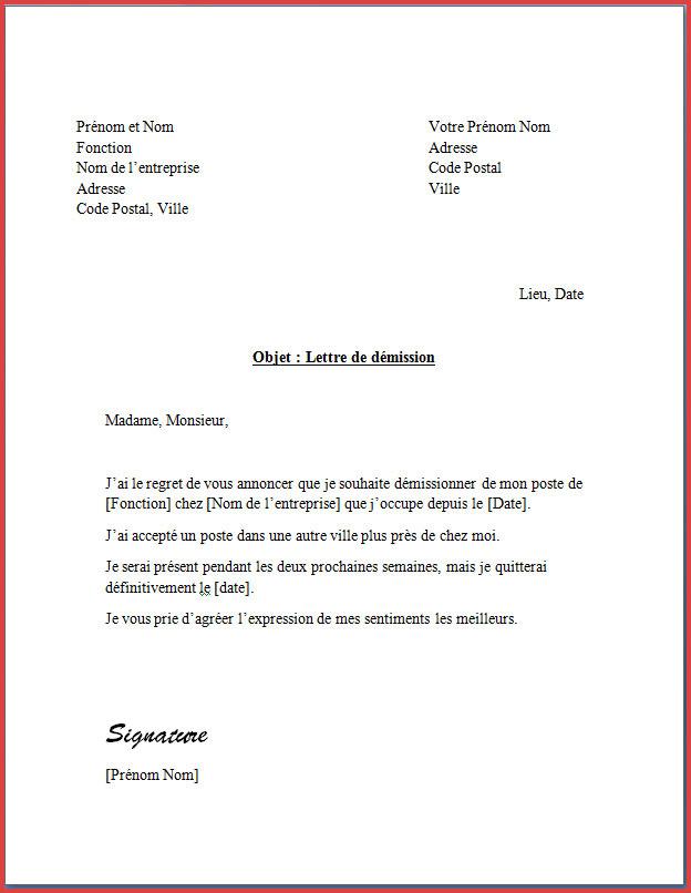 modele lettre de preavis employe