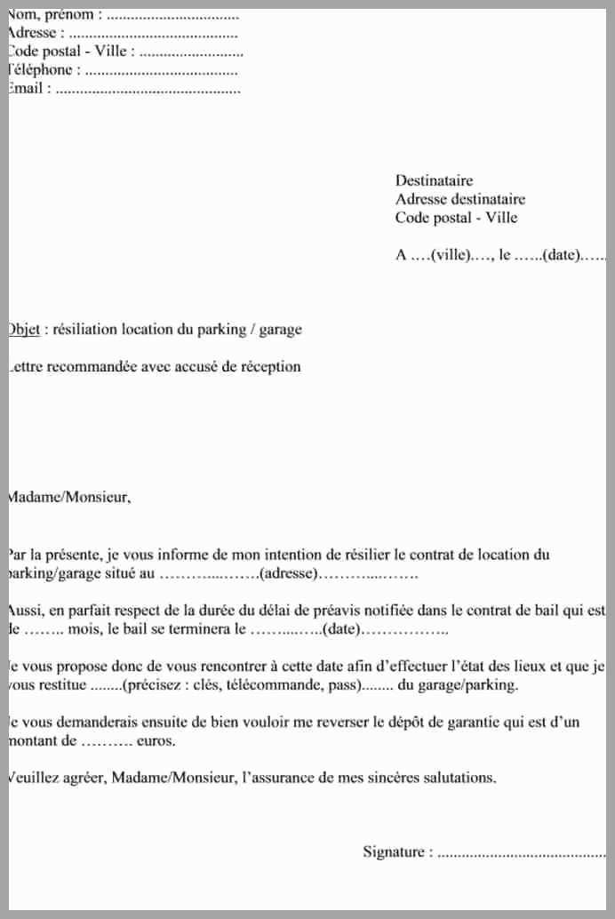 modele lettre de preavis pour location 1 mois