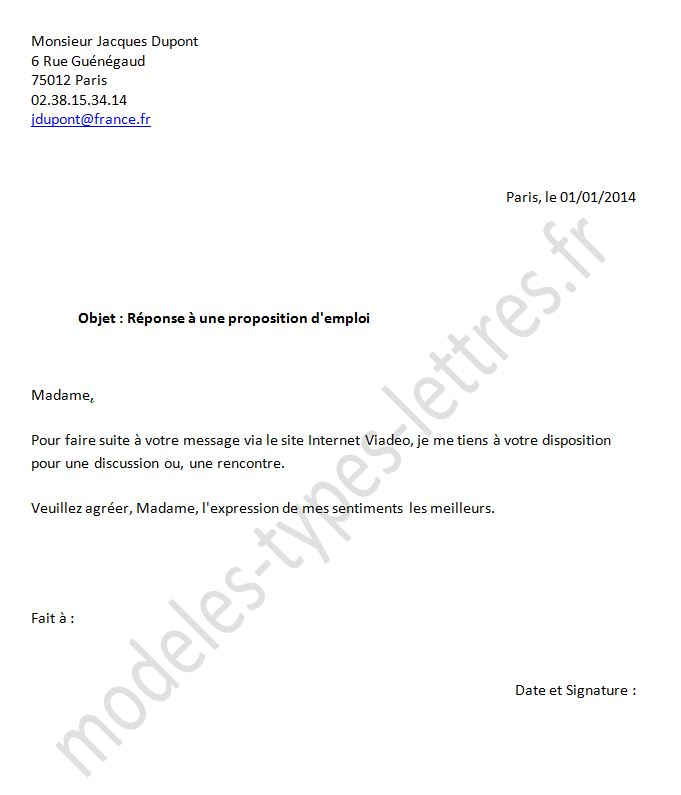 modele lettre de refus d u0026 39 embauche