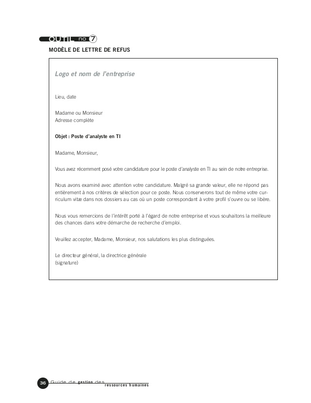 modele lettre de refus d'embauche