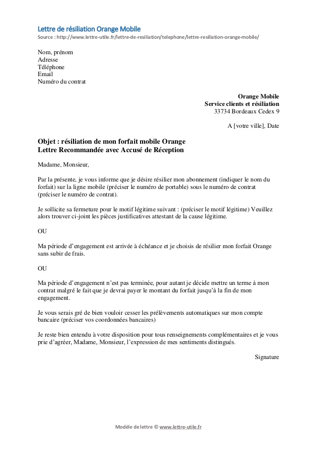 Modele Lettre De Resiliation Abonnement Internet Orange Modele De