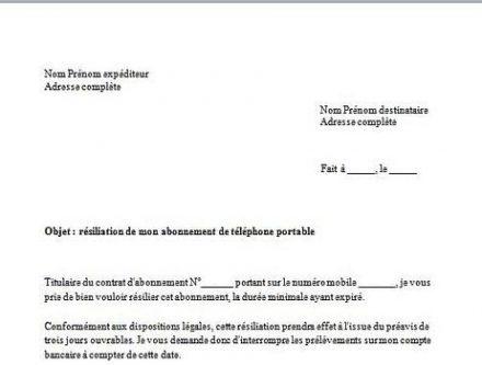 modele lettre de resiliation d'un contrat de maintenance - Modele de lettre type