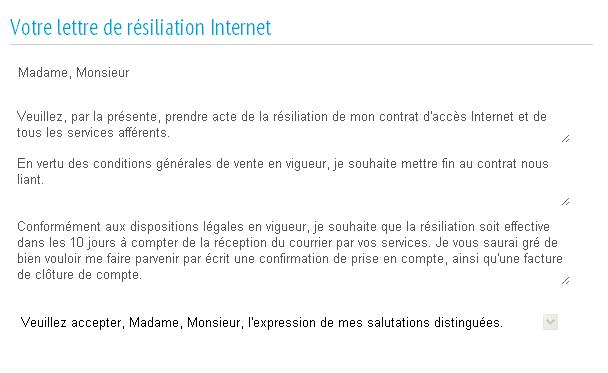 modele lettre de resiliation internet