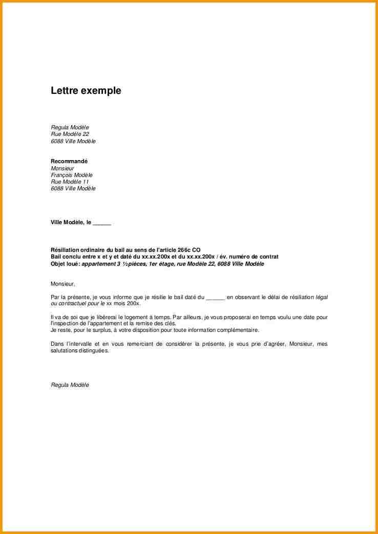 modele lettre de resiliation location appartement - Modele de lettre type