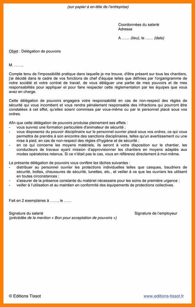 modele lettre delegation signature