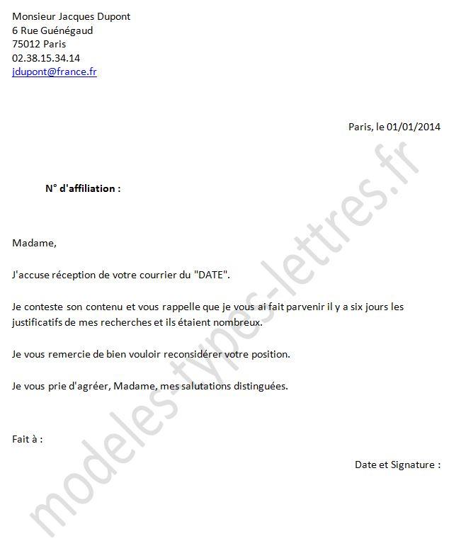 modele lettre demande attestation assedic