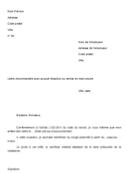 modele lettre demande de conge