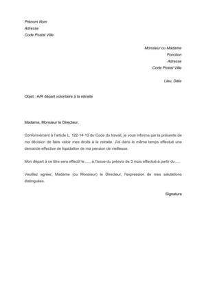 modele lettre depart retraite fonction publique