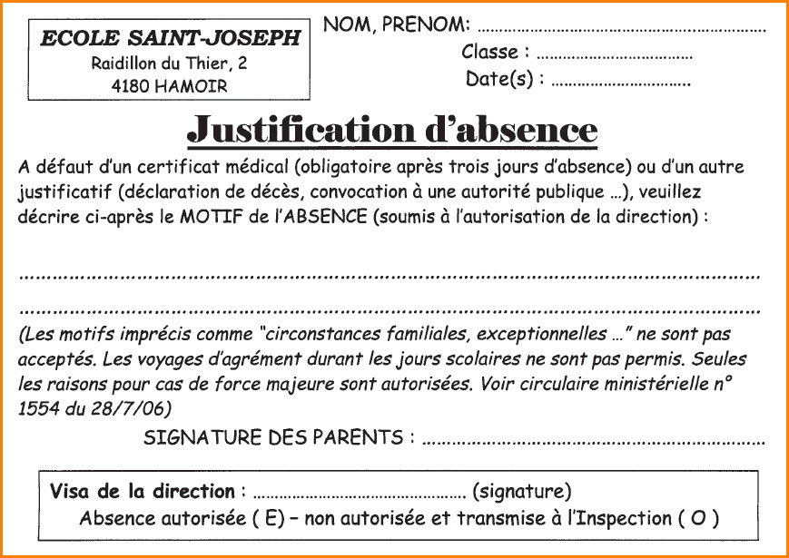 modele lettre excuse absence ecole