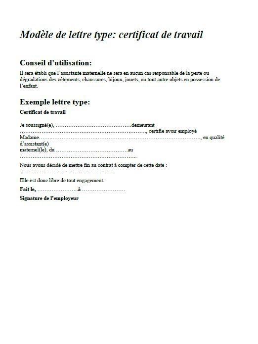 modele lettre fin de contrat assistante maternelle