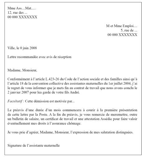 modele lettre fin de contrat nourrice agree