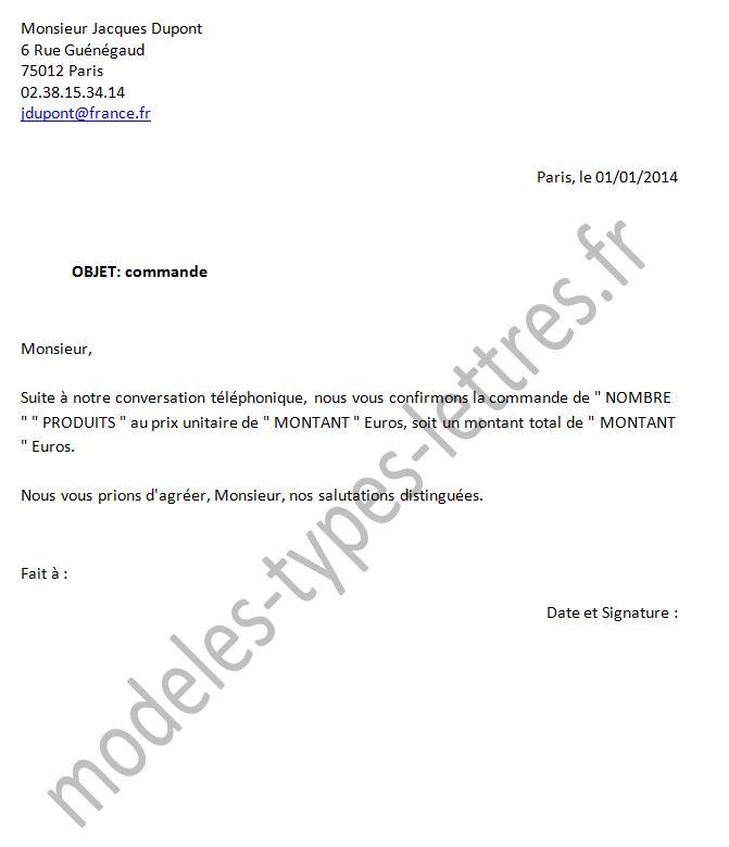 modele lettre fournisseur
