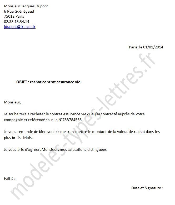 modele lettre pour assurance