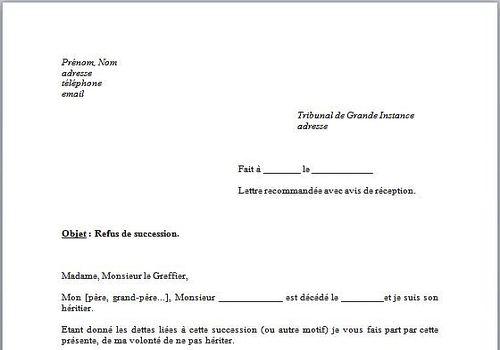 modele lettre pour notaire succession