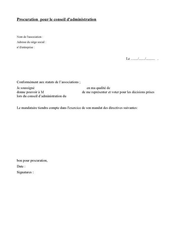 modele lettre pouvoir representation