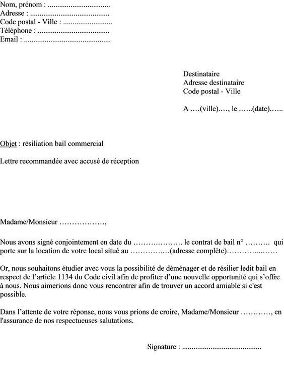 modele lettre resiliation amiable bail commercial