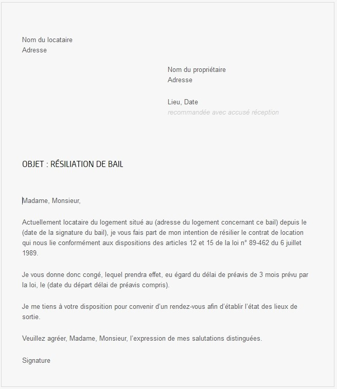 modele lettre resiliation bail 1 mois
