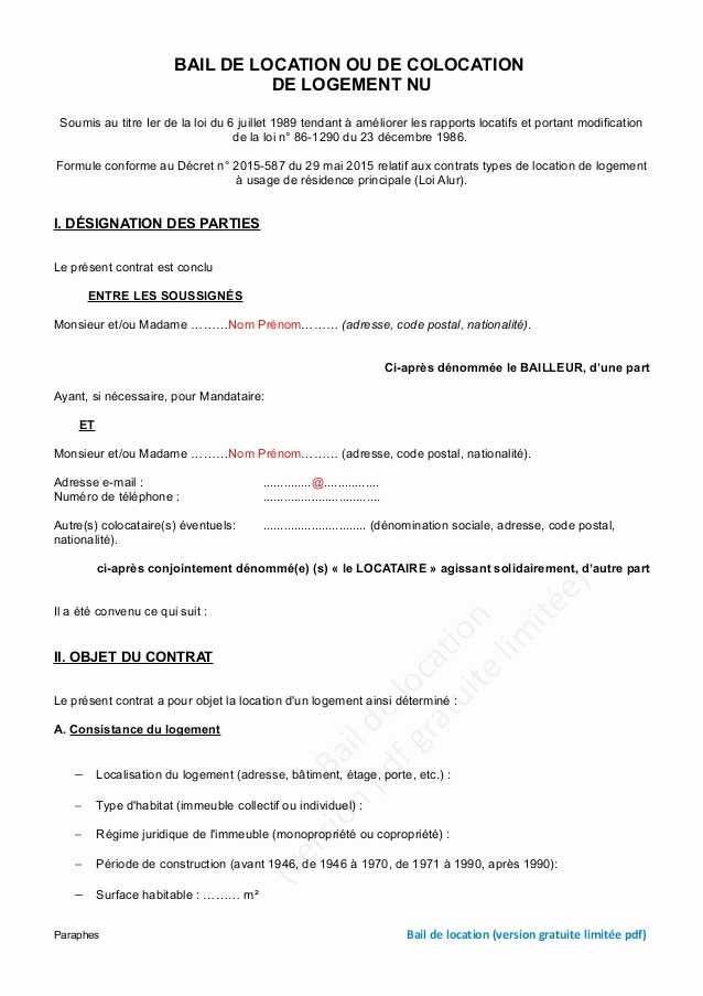 modele lettre resiliation bail gratuit - Modele de lettre type