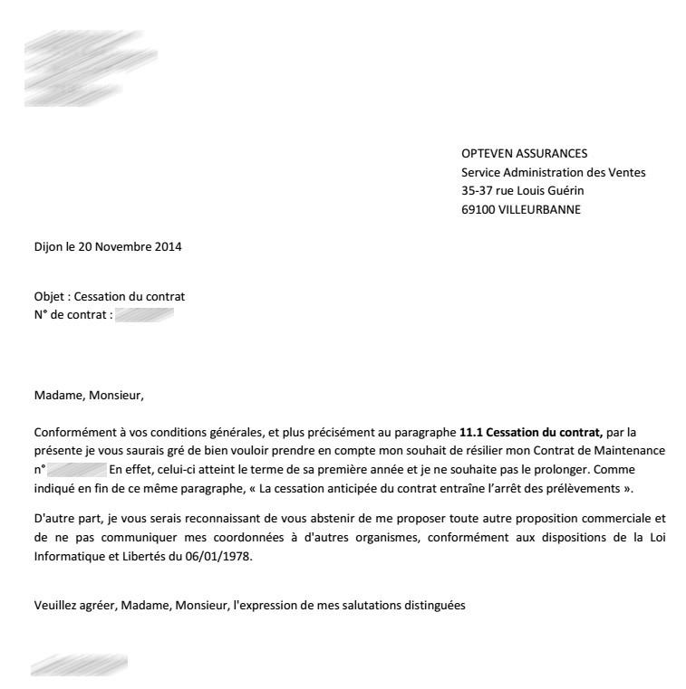 modele lettre resiliation contrat entretien