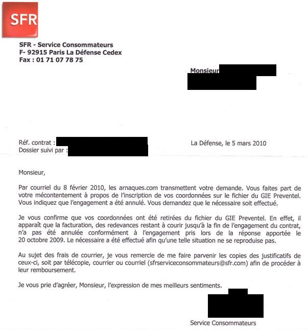 modele lettre resiliation forfait sfr