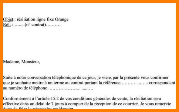 Modele Lettre Resiliation Telephone Fixe Orange Modele De Lettre Type