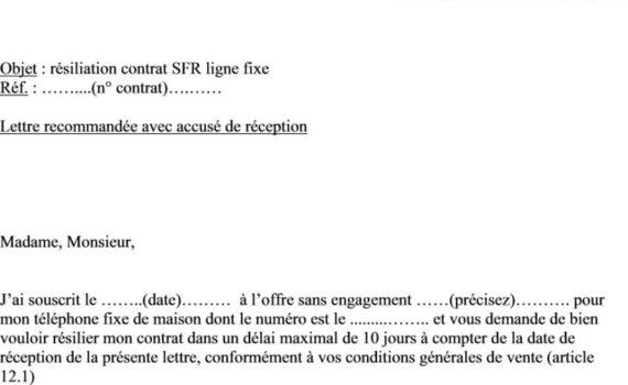 modele lettre resiliation telephone fixe sfr - Modele de lettre type