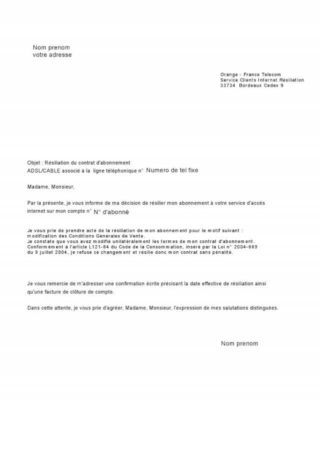 modele lettre resiliation telephone fixe sfr
