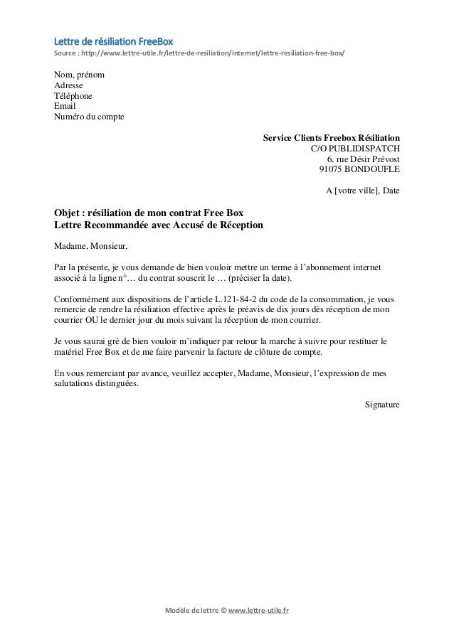 modele lettre resiliation telephone free