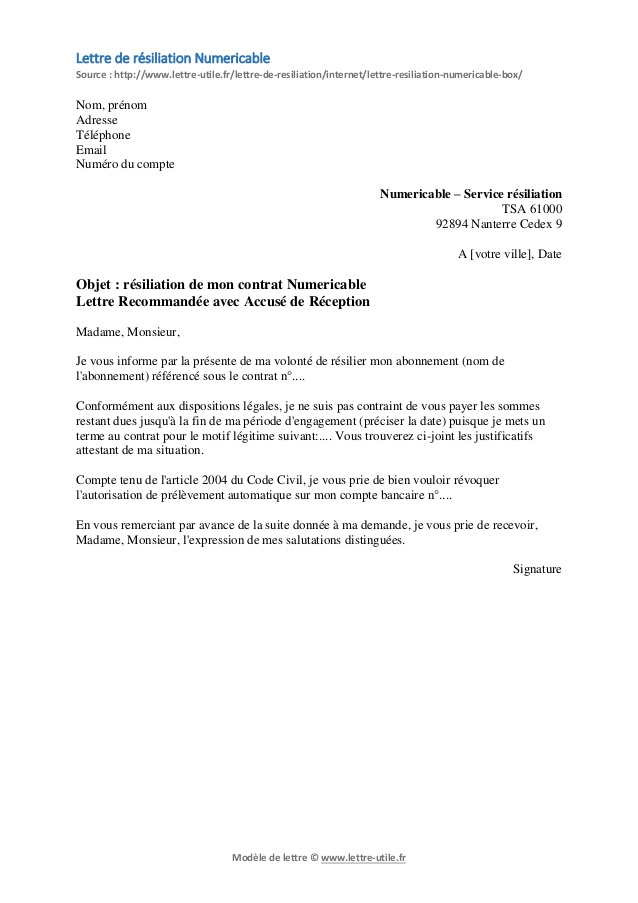 modele lettre resiliation