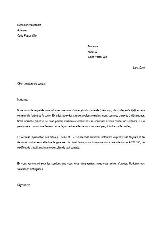 Modele Lettre Rupture Contrat Assistance Maternelle Modele De