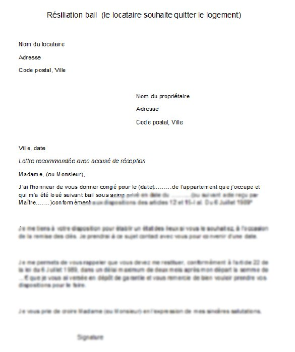 modele lettre type resiliation bail 3 mois