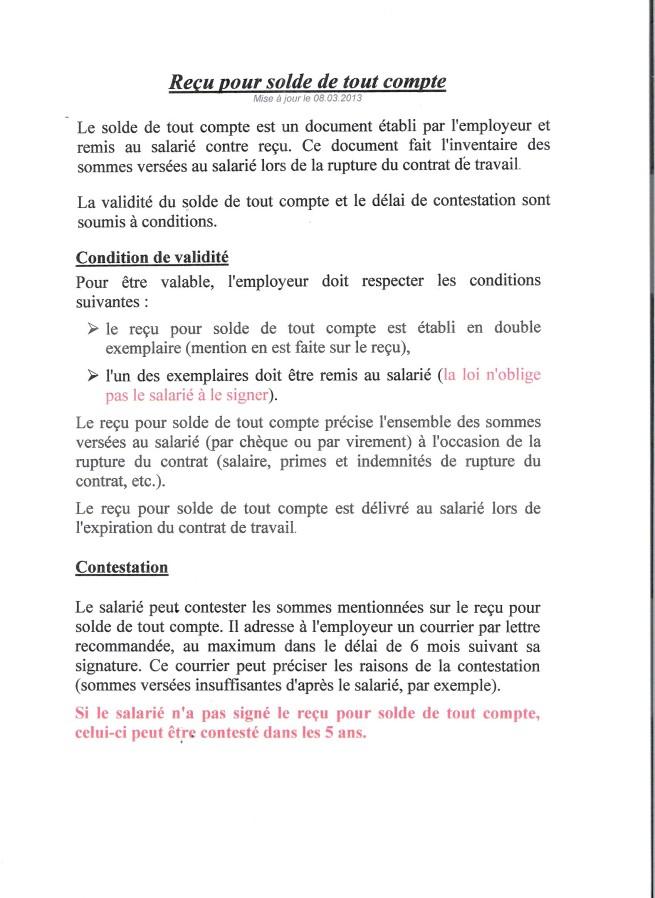 Modele Recu Solde De Tout Compte Modele De Lettre Type