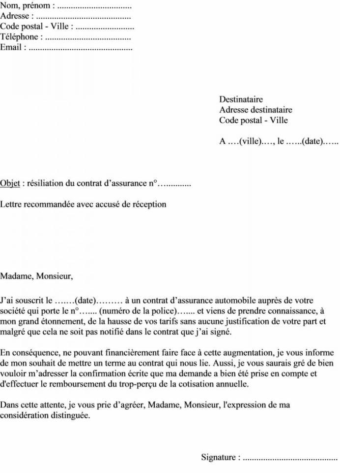 modele resiliation assurance habitation suite demenagement