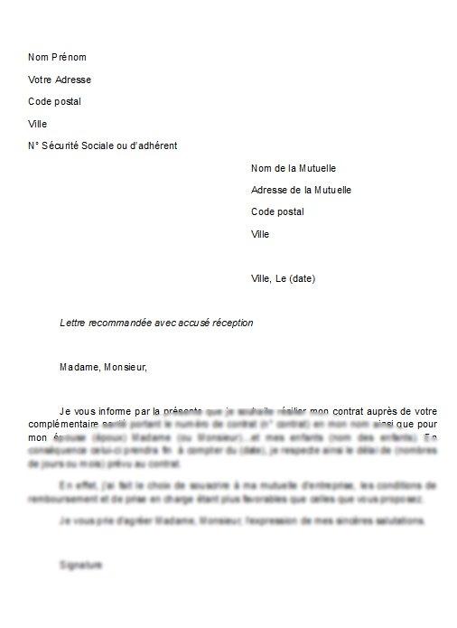 motif de lettre de resiliation