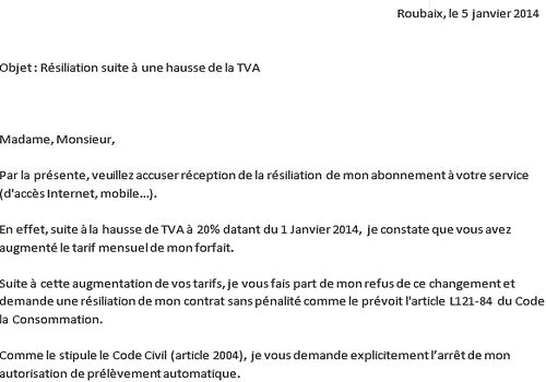 numericable resiliation lettre type