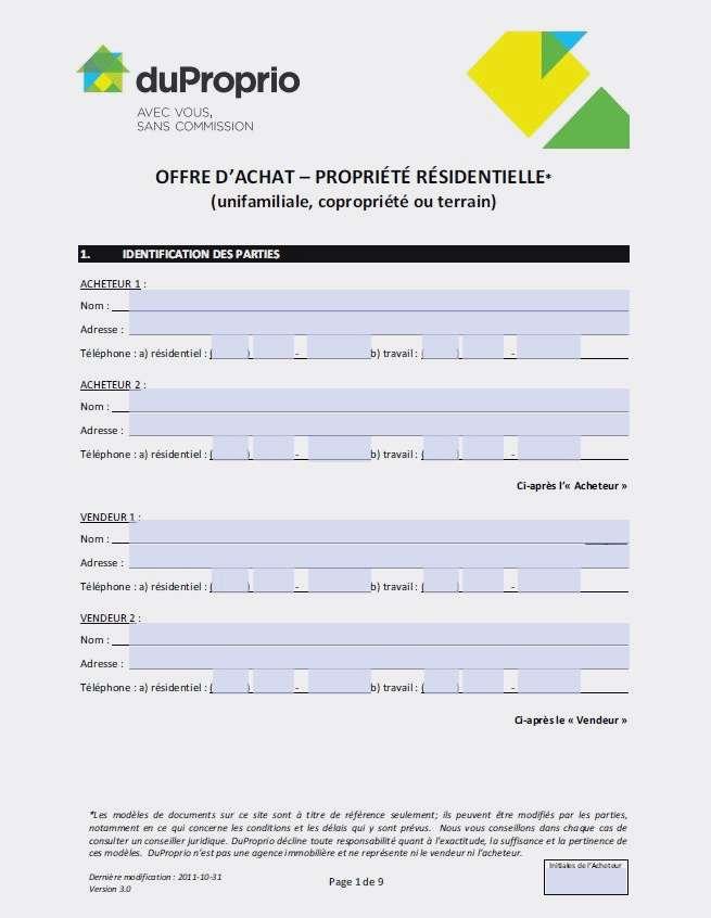 offre d'achat maison formulaire - Modele de lettre type