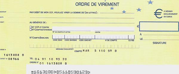 ordre de virement bancaire