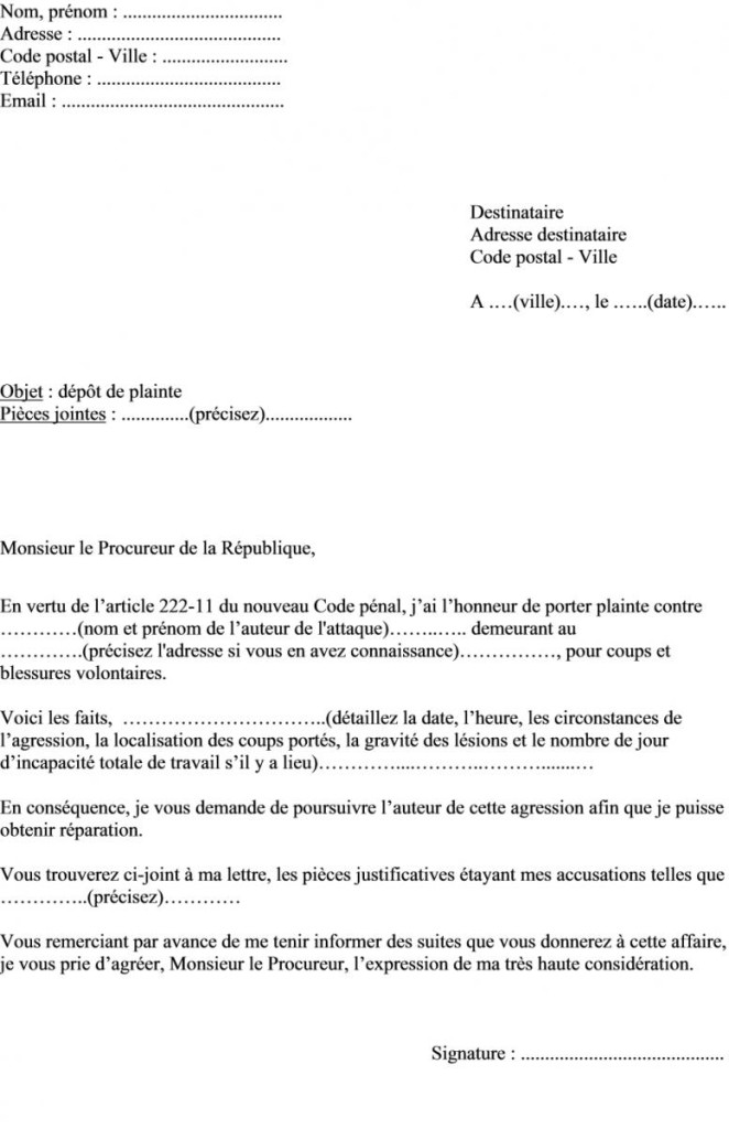 Plainte exemple modele de lettre type - Porter plainte par courrier ...
