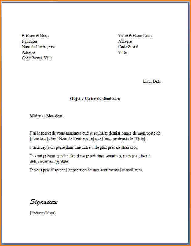 preavis de demission cdi maroc - Modele de lettre type